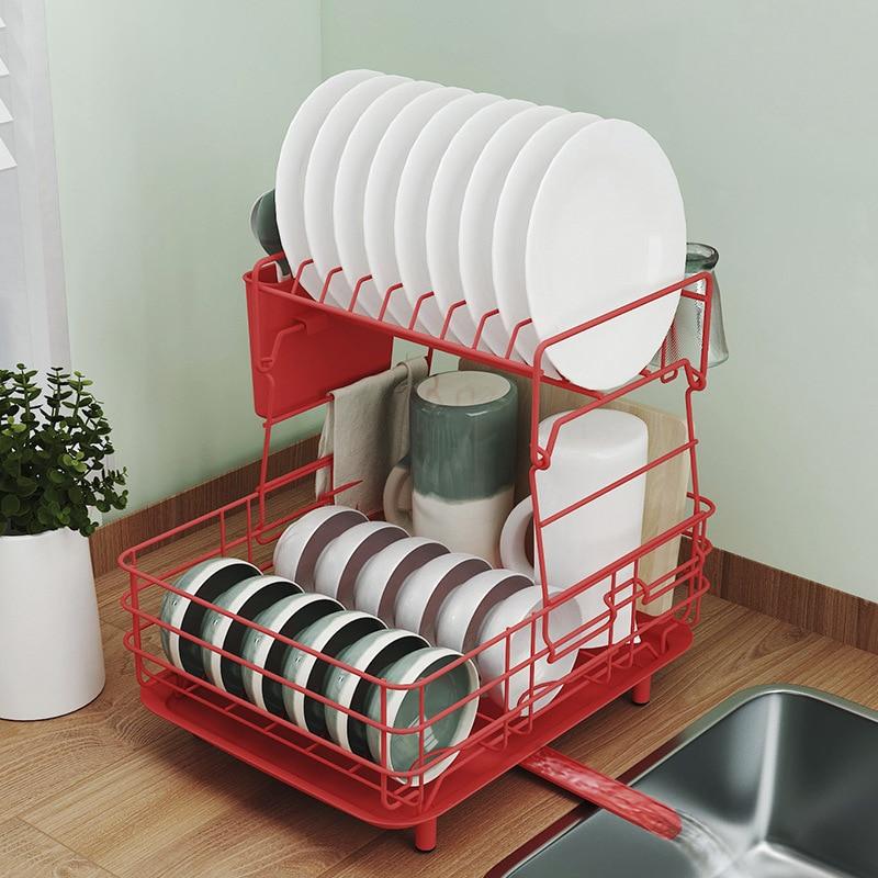 رف الأطباق المنزلية في المطبخ الياباني الفولاذ المقاوم للصدأ استنزاف رف معدني متعدد الوظائف للطي طبقة مزدوجة تخزين الرف