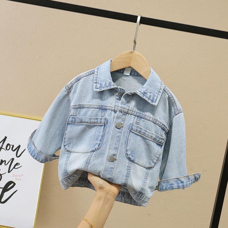 Baby denim coat spring 2020 Korean version of children's long sleeve cardigan jeans western gas sand wash boutique children's we