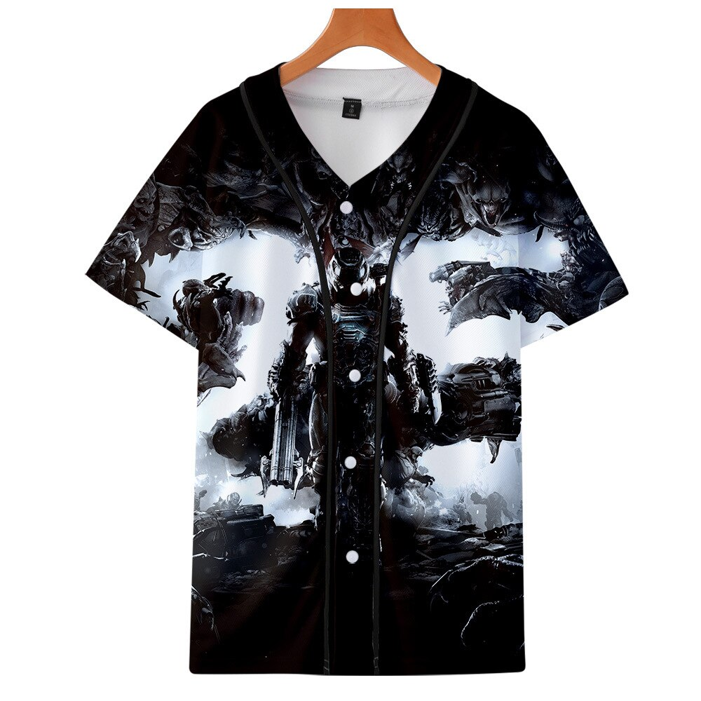 Juego de disparos, camiseta de béisbol eterna Doom, camiseta de hombre de Hip Hop de manga corta con estampado 3D de béisbol, camiseta, camiseta de calle, Tops de verano