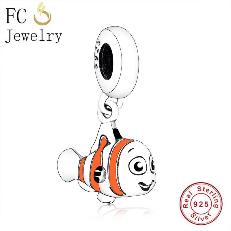 FC Jewelry Fit, Pulsera Original con abalorio de marca, colgante de cuentas esmaltadas en color naranja Nemo y océano de plata 925 para hacer Berloque 2020