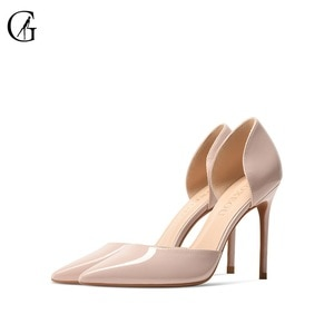 GOXEOU Women's Pumps D'Orsay Nude Red Black White High Heels Party Sexy Fashion Office Lady Mary Janes Lolita Shoes Size 32-46