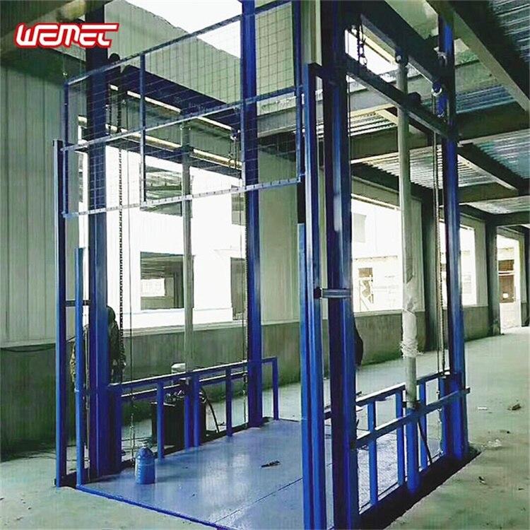 Ascensor industrial de mercancías montado en la pared elevador de carga almacén guía de elevación de ferrocarril