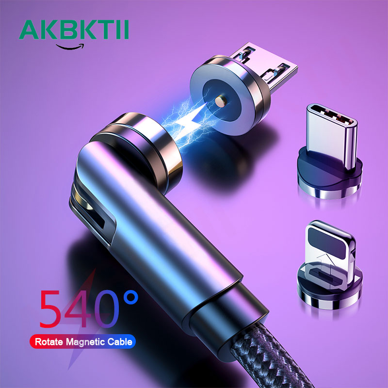 AKBKTII 540 Rotate Magnetic Cable 3A Fast Charging Micro Type C Data Wire Cord For iPhone Xiaomi Magnet Charge USBC Phone Cable
