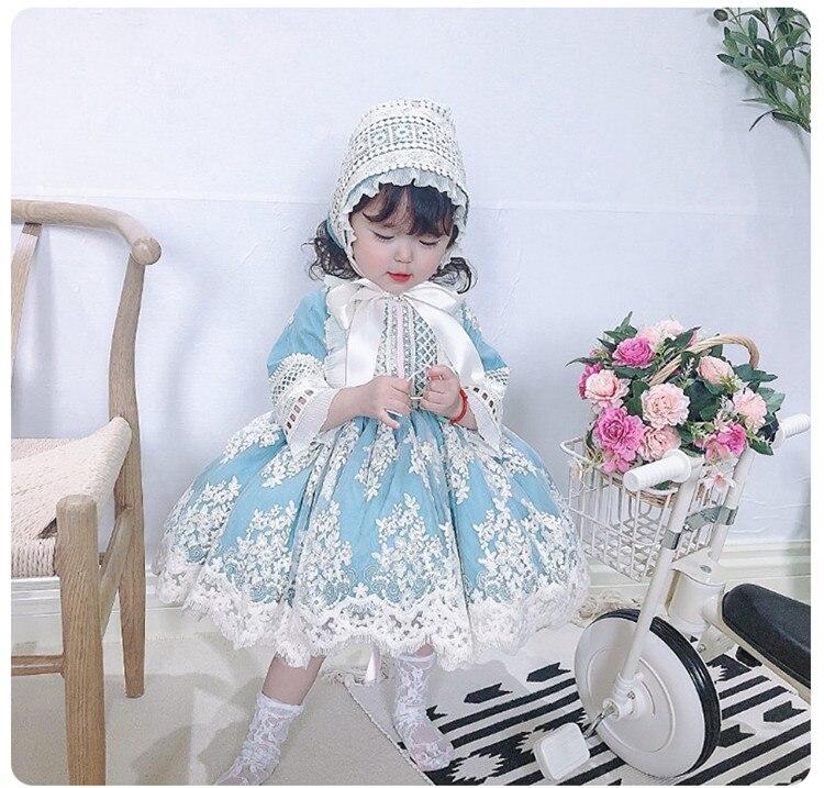 3PCS Baby Girl Summer Autumn Vintage Spanish Turkey England Lolita Princess Ball Gown Dress for Girl Birthday Eid Party