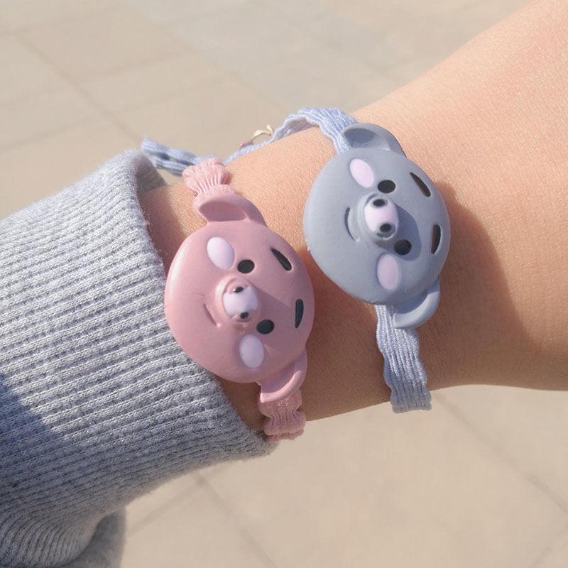 Par de pulseras trenzadas con correa de goma rosa y azul, de moda, para parejas, regalo de cumpleaños