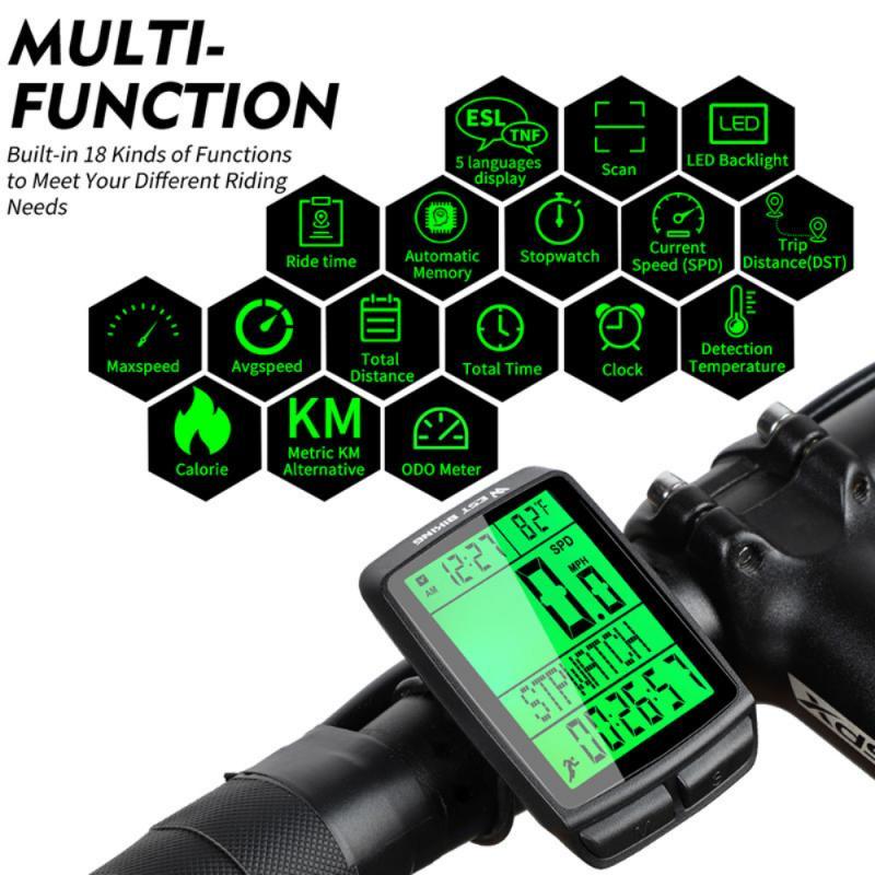 Компьютер для велосипеда на открытом воздухе, 5 языков, беспроводная велосипедная фотовспышка, многофункциональный интерфейс IPX7, водонепроницаемая велосипедная вспышка