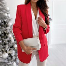 Womens Ladies Long Sleeve Blazer Suit Coat Office Work Jacket Suit Double-breasted Oversized Fashion