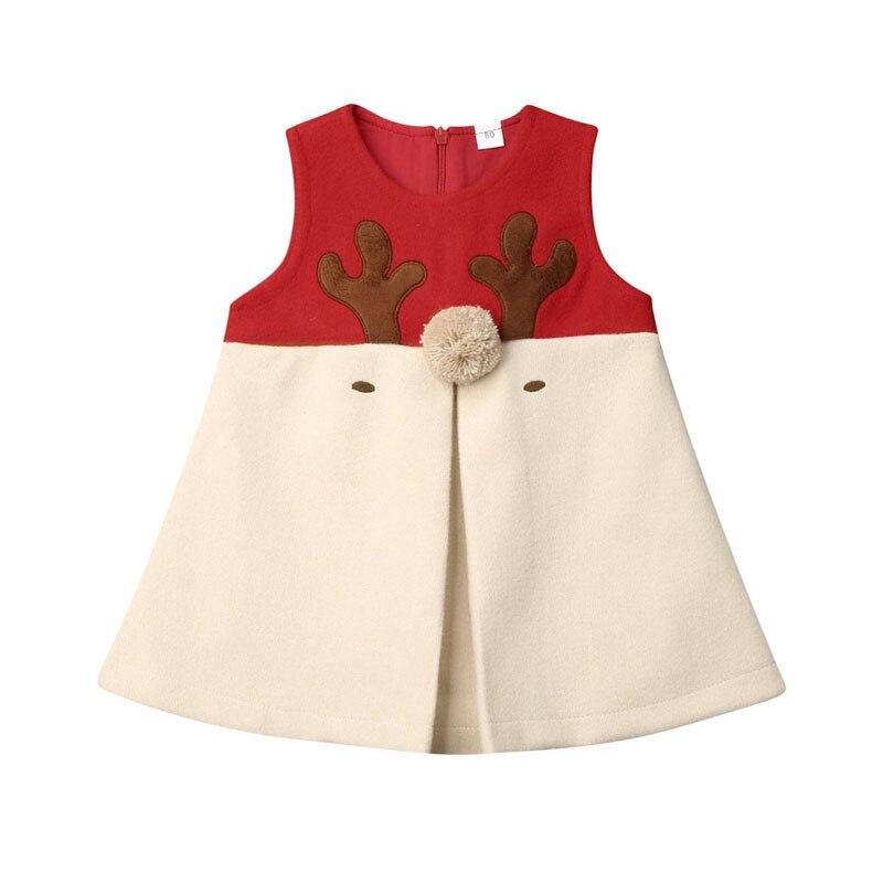 Focusnorm 1-5 Years Newborn Baby Girls Kids Hairy Christmas Xmas Vest Outwear Antlers Print Deer Sleeveless Dress Tops Clothes