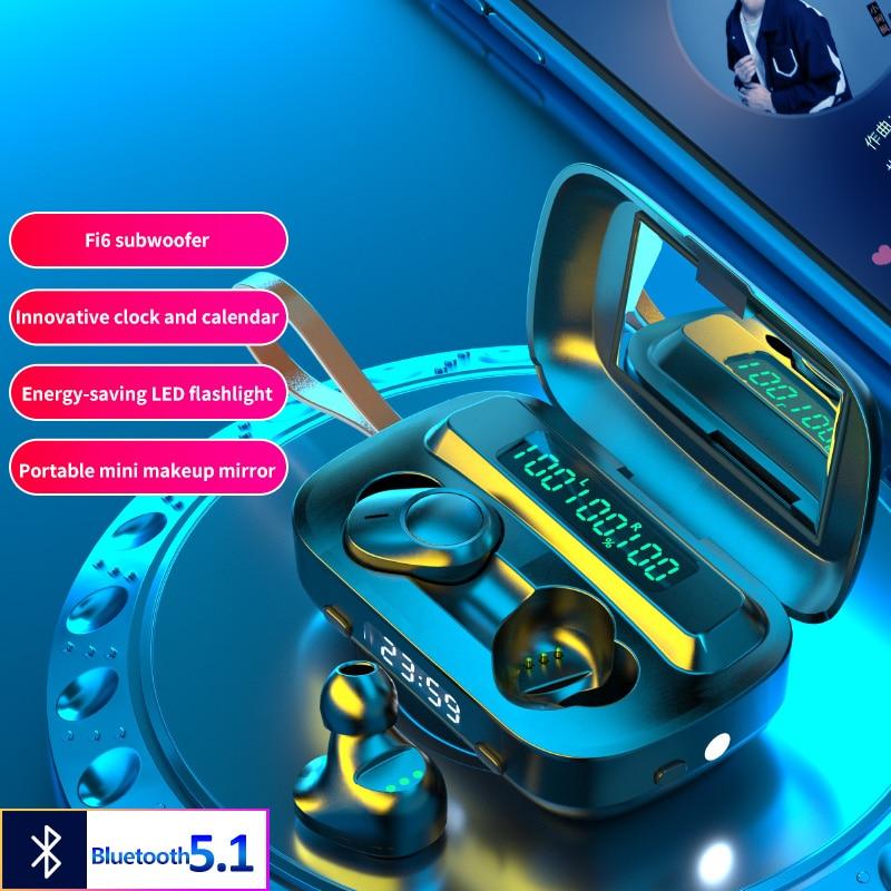 TWS Bluetooth 5,1 Kopfhörer Drahtlose Kopfhörer LED HiFi Headset 9D Stereo Noise Cancelling Earburds mit Power Bank Uhr Spiegel