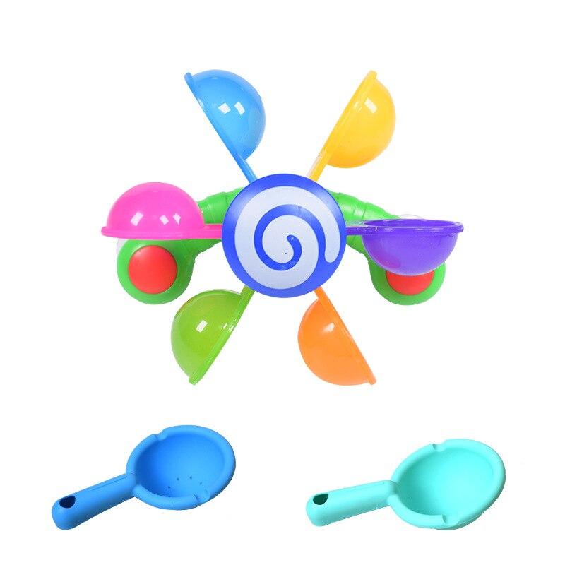Juguetes de baño para niños giran el molino de agua de la música con la cuchara del baño del bebé juego de agua del molino de viento del arco iris juguetes de la ducha del agua