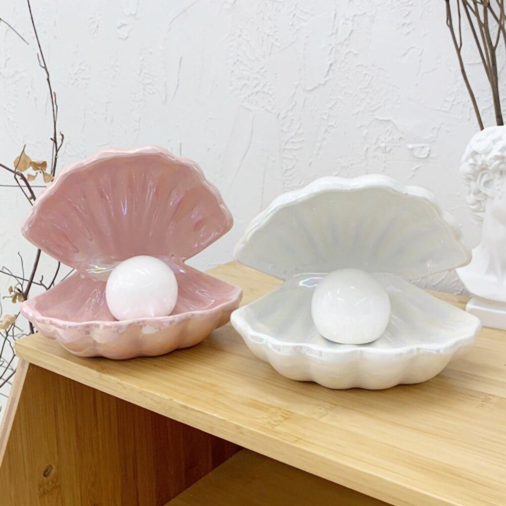 Ceramic Shell Pearl Lamp Bedroom Decor Night Light Streamer Fairy Shell for Girl Home Decoration Bedside Lamp Girl Gift Dropship enlarge