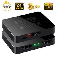 Раздельный видеопереключатель 4K HDMI Full HD 1080p 1x2 раздельный 1 в 2 выход усилитель двойной дисплей для HDTV DVD для PS3 Xbox