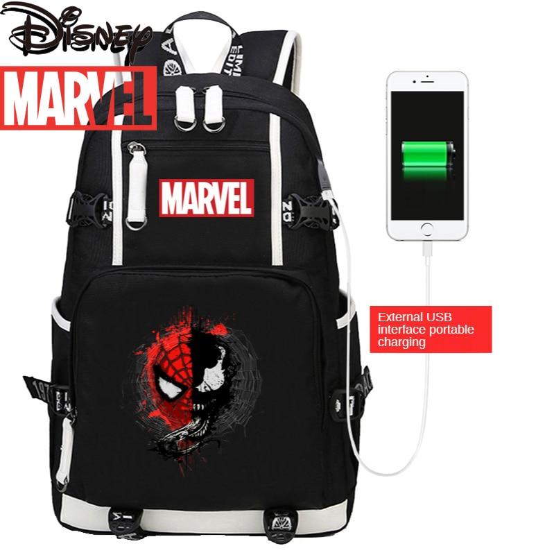 Disney Marvel Avengers Men's Backpack Outdoor Mountaineering Bag Canvas Wear-resistant Large Capacity Storage Bag