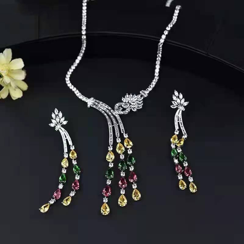 Funmode New Long Tassel Pendientes Water Drop CZ Necklace Earring Jewellery set for Women Accessories colar feminino FS154  - buy with discount