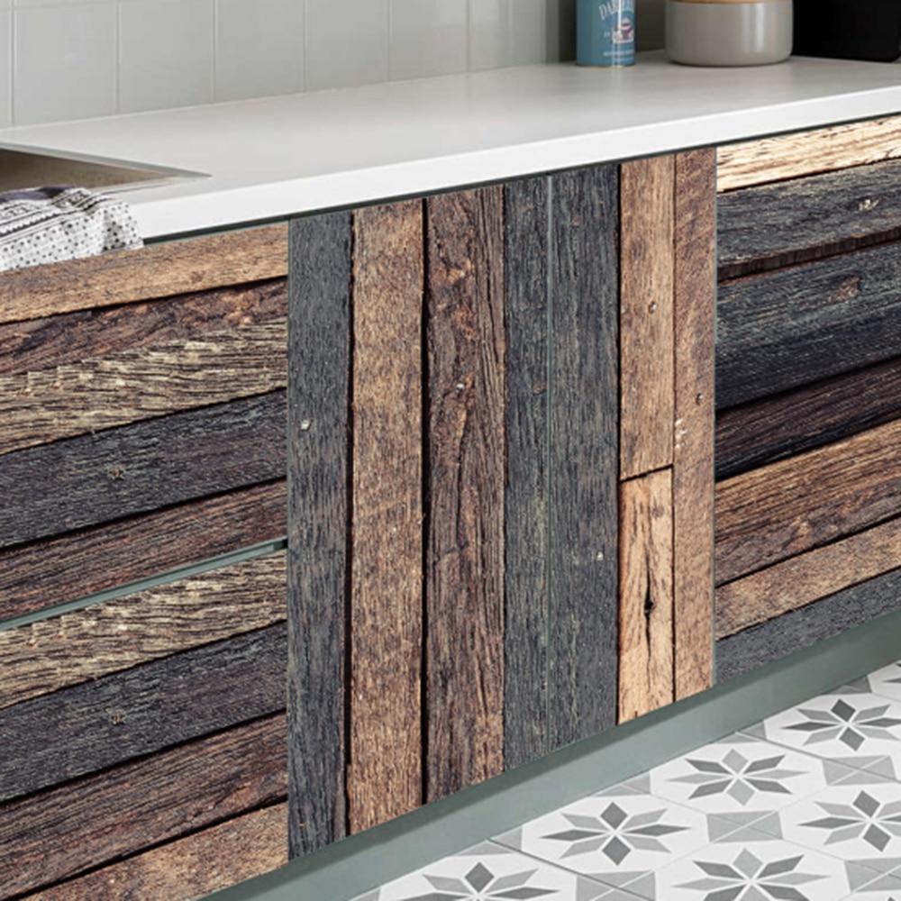 7 pcs / Set  Wood Grain Floor Tile Board Sticker DIY PVC Self-adhesive Kitchen Bathroom Desk Home Decoration Waterproof  Sticker