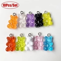10pcs candy bear cute resin charms diy patch findings gummy earrings keychain necklace pendant jewelry decor accessories