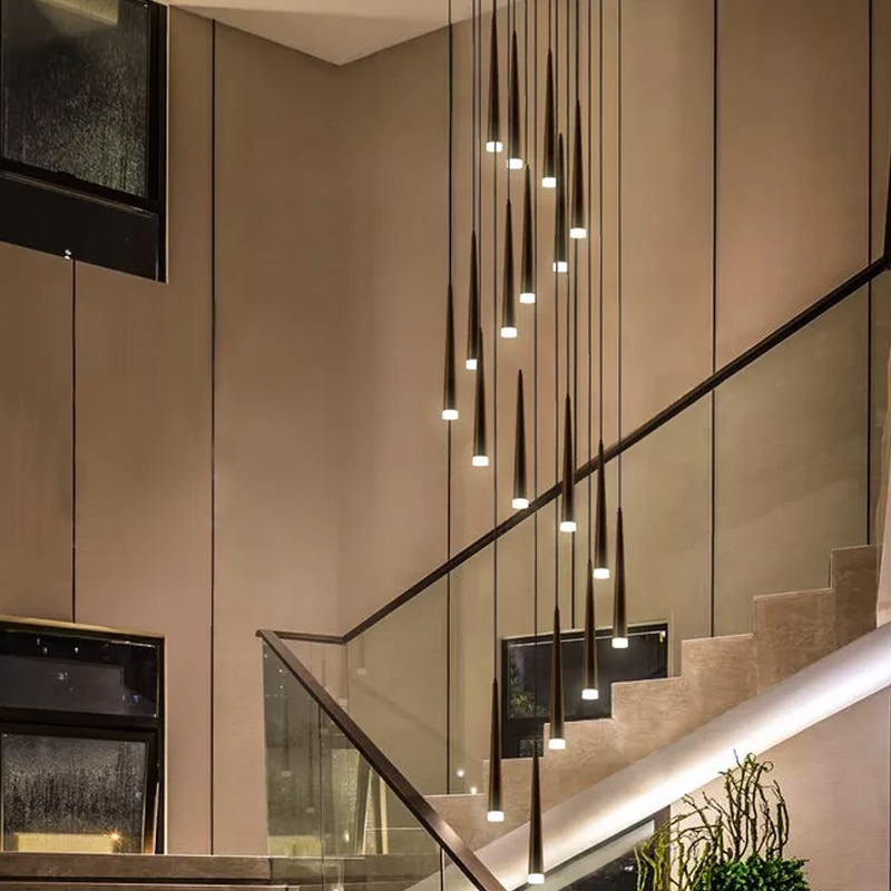 Современная лестница, большая люстра, скандинавский простой Ресторан, черная длинная трубка, светодиодный подвесной светильник для коридора, вход, балкон, освещение