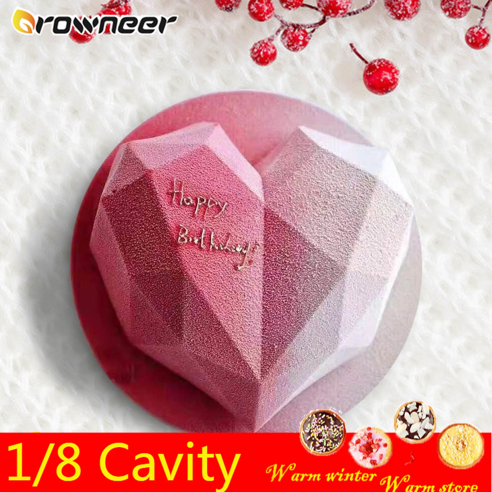 1/8 Cavity 3D Diamond Love Heart Shape Mold Silicone Chocolate Cookie Muffin Baking Tool Sponge Mousse Dessert Cake Decorating