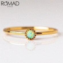 ROMAD Simple Dainty opale anneaux pour femmes femmes de mariage fiançailles bagues de mode bijoux doré pierre de naissance anneau empilable