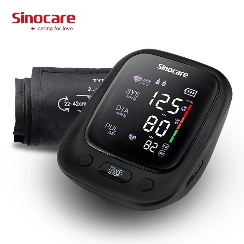 Фото - Sinocare Portable Blood Pressure Monitor Tonometer Automatic Upper Arm LED Monitors Sphygmomanometers BP Heart Rate Pulse Meter blood pressure monitor upper arm automatic digital blood pressure monitor cuff home bp sphygmomanometers with large lcd display
