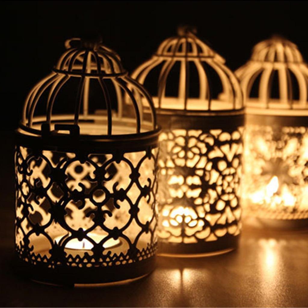 1PC Hollow Holder Candlestick Tealight Hanging Lantern Bird Cage Vintage Wrought Decorative Moroccan Lantern Candle Holder#T2