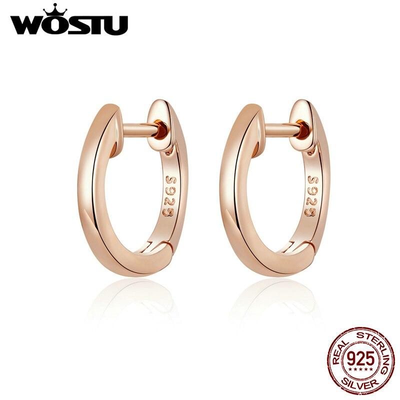 Wostu real 925 prata esterlina simples rosa brincos de argola de ouro para mulheres brincos de casamento moda jóias de prata CQE808-C