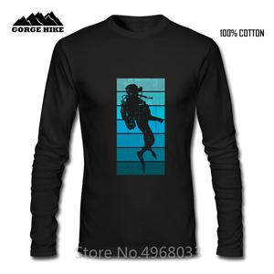 Scuba Dream Design Men Long Sleeved T shirt Homme Scuba Diving Retro style Streetwear Hip Hop Loose Male T-shirt Black Tshirt