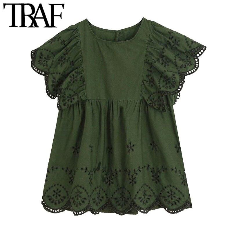 Traf mulheres doce moda cutwork bordado plissado blusas vintage o pescoço manga curta babados camisas femininas chiques