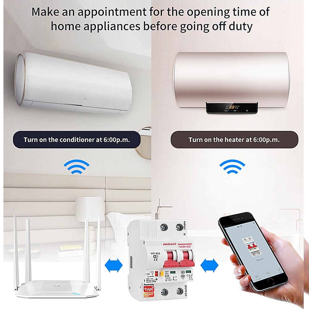 Smart Life(tuya) app 2p WiFi Smart Circuit Breaker overload short circuit protection with  Alexa google home for Smart Home