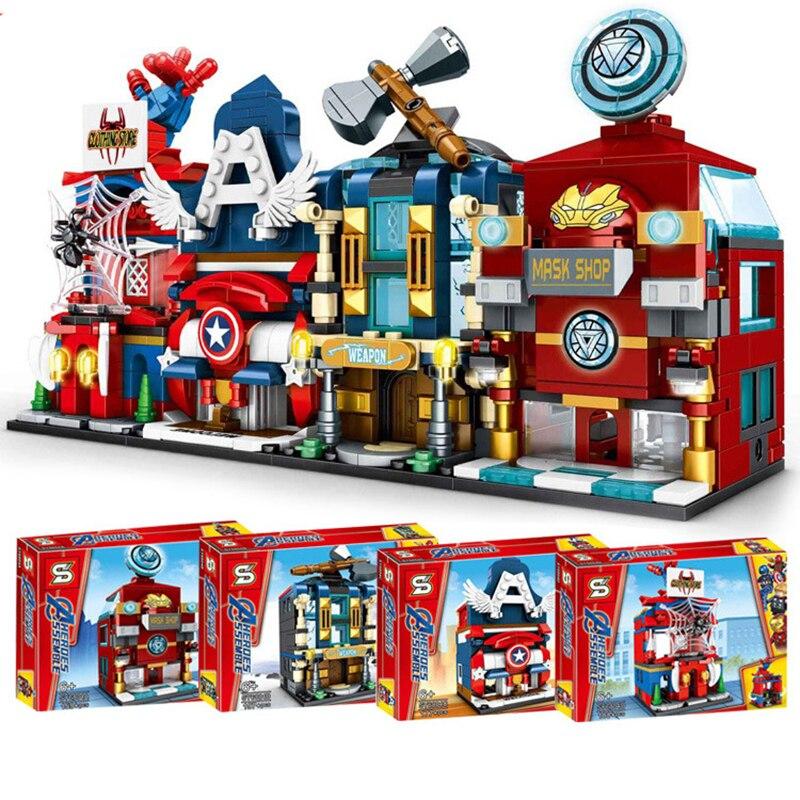 Película Avenger, superhéroe de la calle urbana, Iron Man, Spider-man, juego de bloques de construcción Marvel, juguetes de bloques para niños