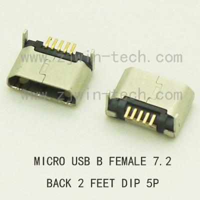 بكرة التعبئة 1000 قطعة/الوحدة مايكرو USB Btype المقبس أنثى USB 2.0 موصل 5pin الظهر 2 قدم DIP
