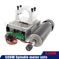 Air cooled dc motor 110v CNC spindle motor kit ER11 chuck 500W spindle motor + carving power supply for CNC milling machine