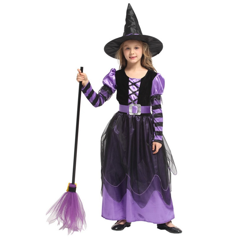 halloween children s costume cosplay girl horror vampire death ghost clothes little witch long sleeve costume girls prom dress Small Witch Costume Halloween Girl Party Clothes Purple Witch Cosplay Dress Anime Role-Playing Games