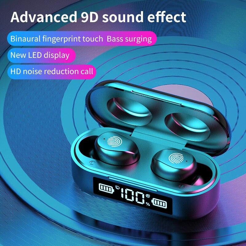 Auriculares inalámbricos TWS Bluetooth 5,1 con pantalla LED, Auriculares deportivos resistentes al agua, miniauriculares de música de alta fidelidad 9D