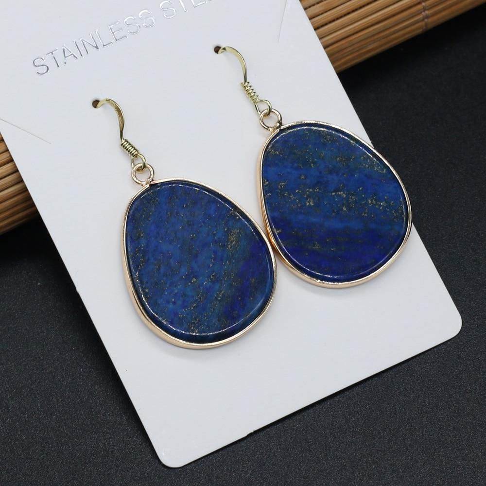 2021 Unique Dangle Earrings for Women Natural Stone Lapis Lazuli Ear Drop Fashion Jewelry Handmade Gems Art Earring Gift  - buy with discount