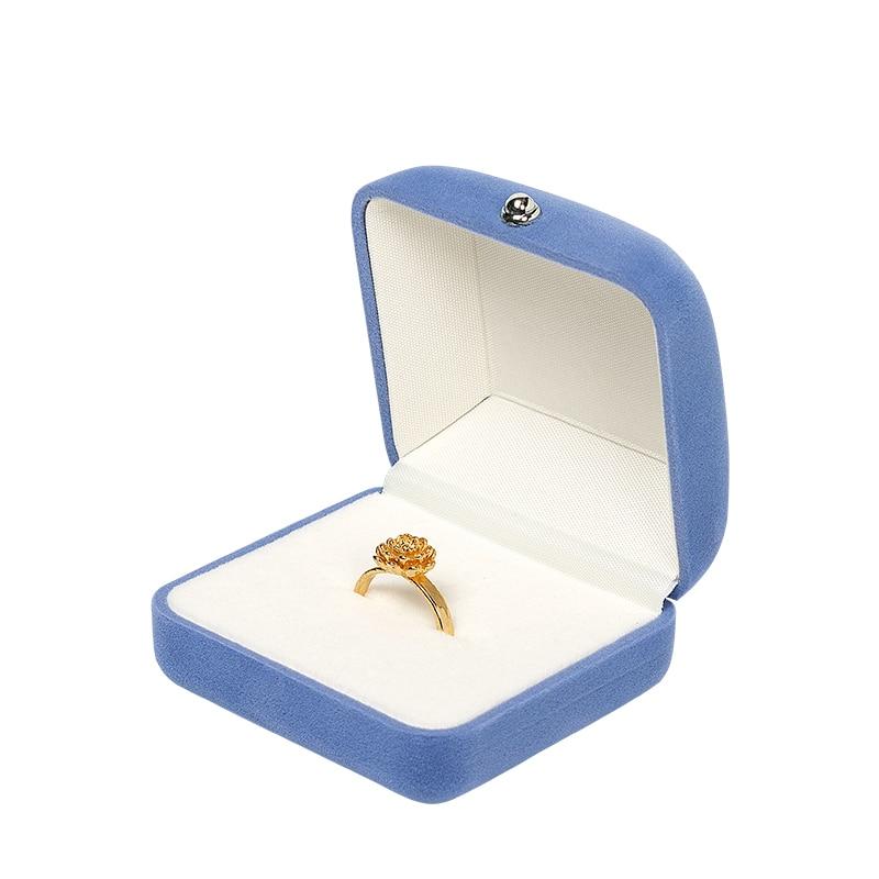 Novel Blue Velvet Series Set Box Jewelry high-end flannel wedding ring Pendant Bracelet Watch for Female