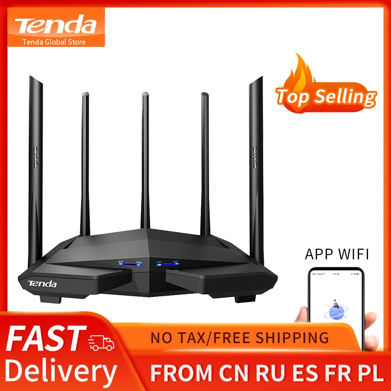 Tenda AC11 AC1200 Wifi Router Gigabit 2.4G 5.0GHz Dual-Band 1167Mbps Wireless Router Wifi Repeater with 5 High Gain Antennas