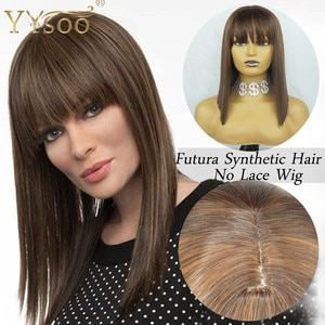 YYsoo Short Futura Synthetic Hair Full Machine Made Bob Wigs With Bangs #4 Highlights #30 Color Silky Straight Ombe No Lace Wig