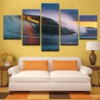 no framed canvas 5pcs huge ocean waves sunset rays wall art posters prints pictures paintings home decor decorations