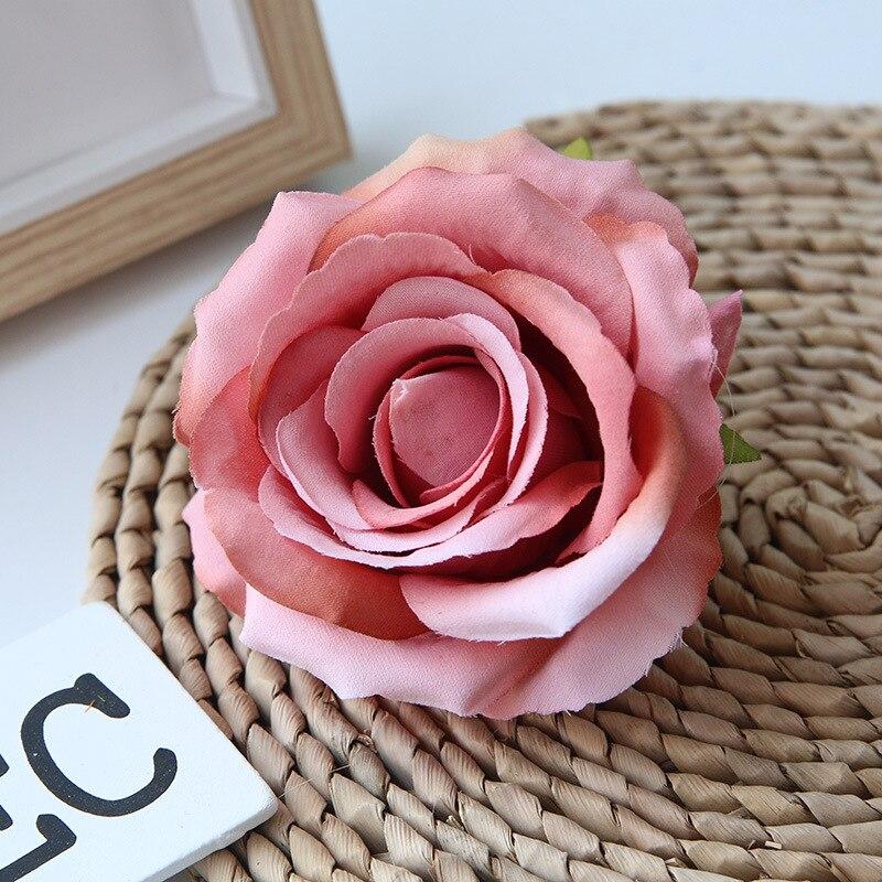 10cm Artificial Flowers Head Flannelette Rose Flower For Wedding Home Decoration Fake Flowers Diy Wreath Scrapbook Supplies Leather Bag