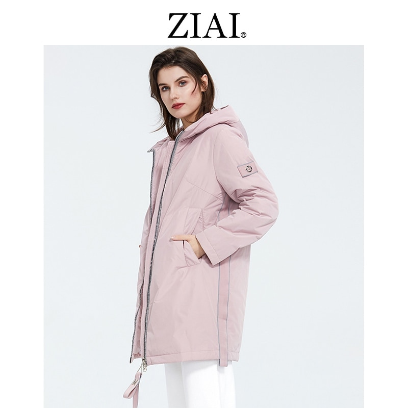 ZIAI 2021 جديد إمرأة سترة طويل وردي فاتح دافئ سترة قميص أبيض بحجم ضخم معطف أنثى مقنع عادية السيدات أبلى instock AM-8608