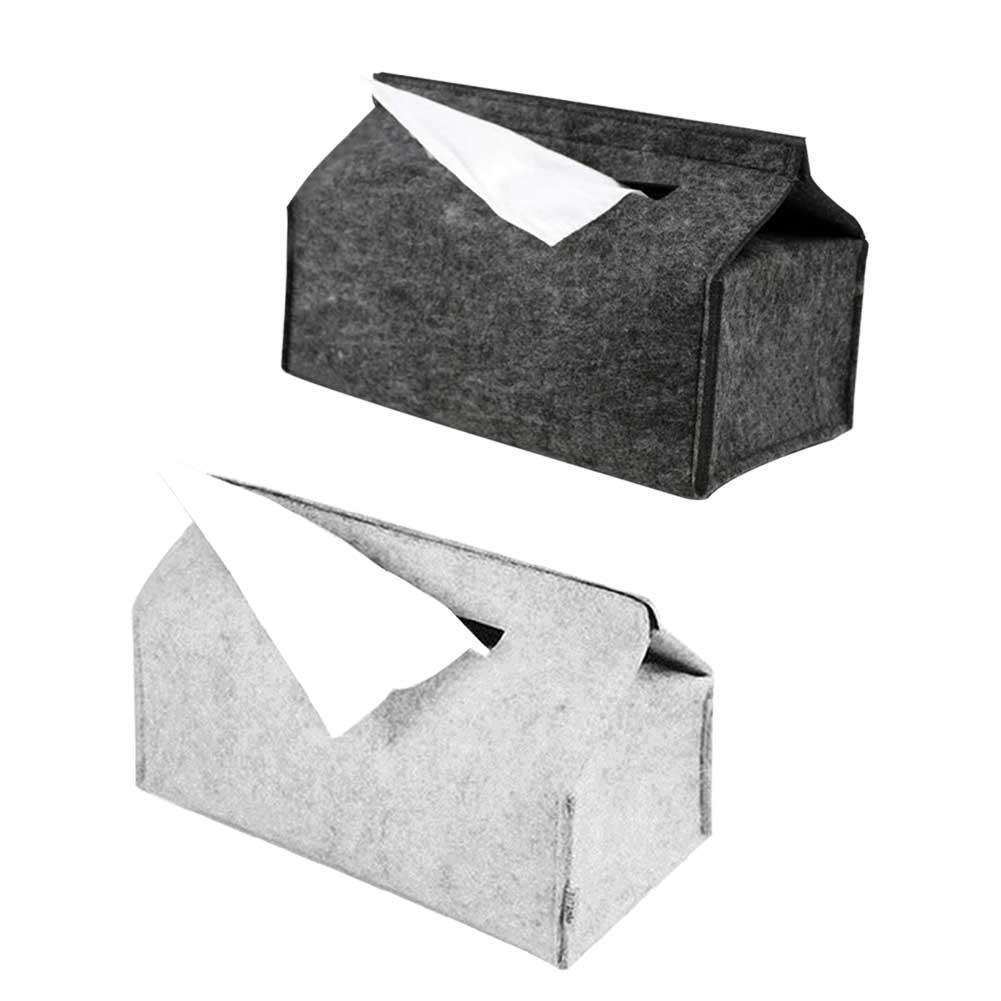 Caja para pañuelos de papel para el hogar bandejas de fieltro de lana Simple servilleta con forma de coche de Color sólido