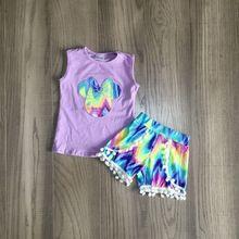 Baby Meisjes Zomer Tie Dye Outfits Lavendel Shirt Met Tie-Geverfd Shorts