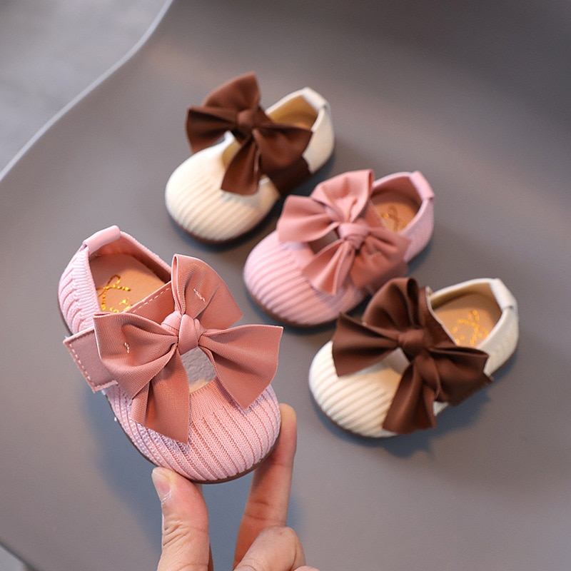 Autumn Baby Girls Shoes Children Comfortable Soft Bottom Knitted Bow-knot Princess Shoes Toddler Inf