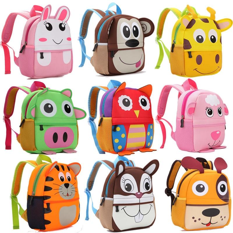 2020 New 3D Animal Children Backpacks Brand Design Girl Boys Backpack Toddler Kids Neoprene School B