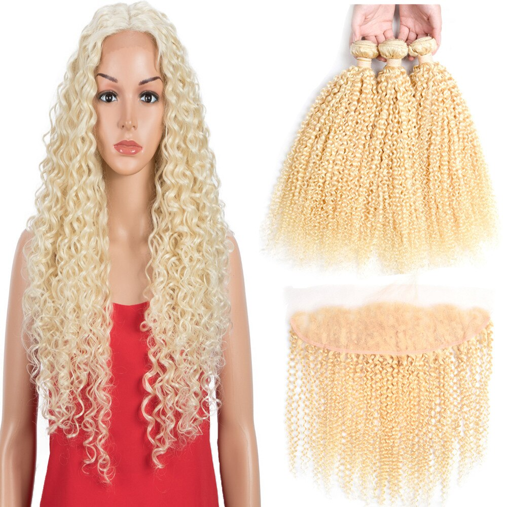 Smoora 613 Blonde Bundles With Closure Kinky Curly 3 Bundles With 13*4 Lace Frontal Closure Mongolian Remy Hair Weaving