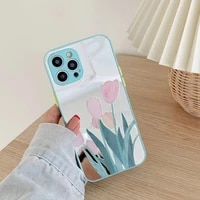 tulip painting mirror phone case for iphone 12 pro max coque 11 11promax cover camera protect case for iphone xr xsmax x fundas