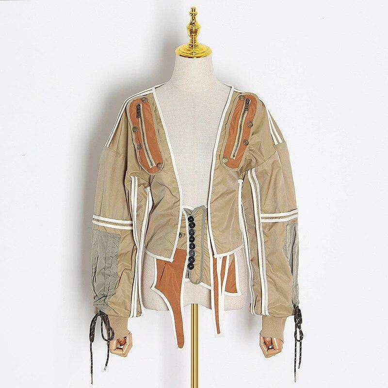 Msshu ropa de mujer-معاطف خريفية وشتوية 2020 ، سترة واقية مرقعة ، سترات قصيرة ، معاطف آلية للنساء