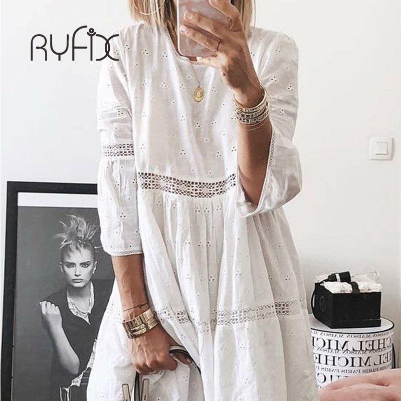 فستان جديد للنساء 5XL 2021 أنيق ومطرز بالدانتيل فستان أبيض نسائي مزخرف بالزهور مفرغ فضفاض للحفلات غير الرسمية BG74