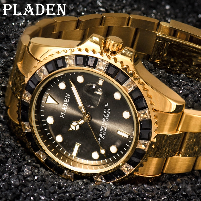 PLADEN New Men's Quartz Watches Sapphire Glass Waterproof Luminous Round Black Diamond Male Clock Auto Date Dive Timepiece 2021